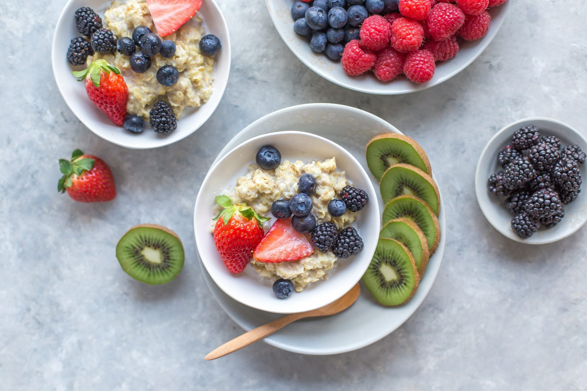 bowls of fruit and granola